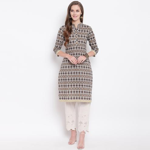 Glowing Brown Colored Casual Printed Cotton Kurti
