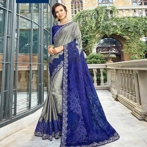 Blooming Gray-Blue Colored Partywear Embroidered Georgette Silk Saree