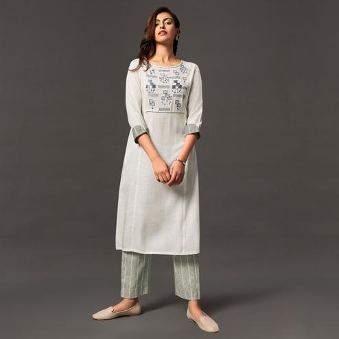 Breathtaking White Colored Casual Wear Cotton Kurti With Bottom
