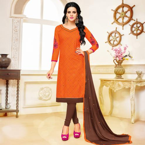 Ideal Orange Colored Partywear Embroidered Cotton Dress Material