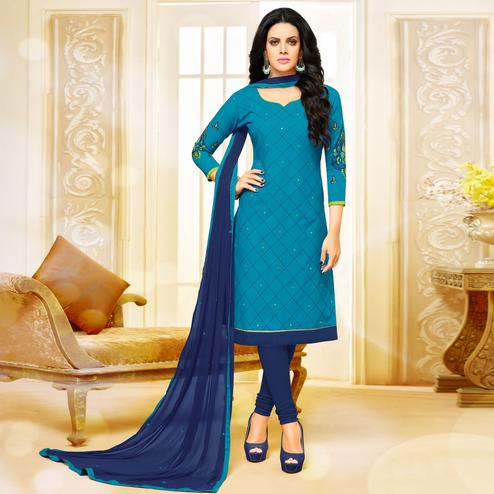 Imposing Sky Blue Colored Partywear Embroidered Cotton Dress Material
