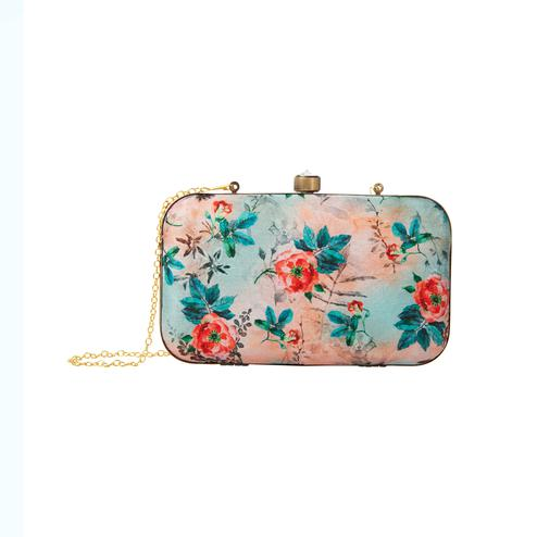 Graceful Peach-Blue Colored Floral Printed Fancy Clutch
