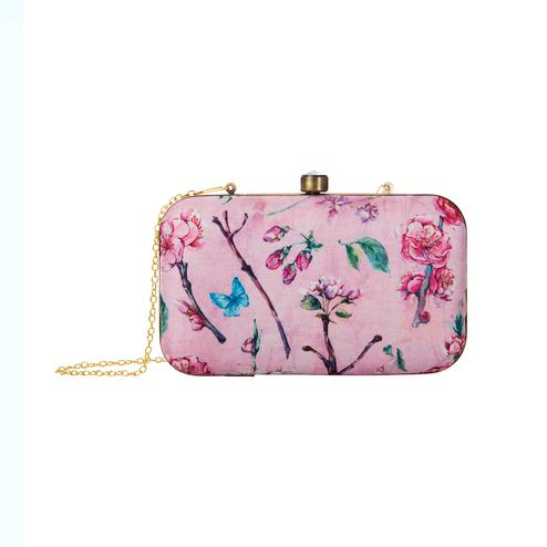 Blissful Pink Colored Floral Printed Fancy Clutch