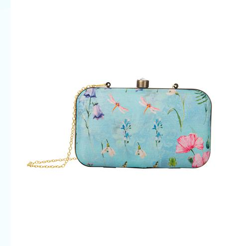 Majesty Aqua Blue Colored Floral Printed Fancy Clutch