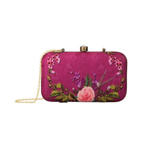 Desirable Fuschia Pink Colored Floral Printed Fancy Clutch