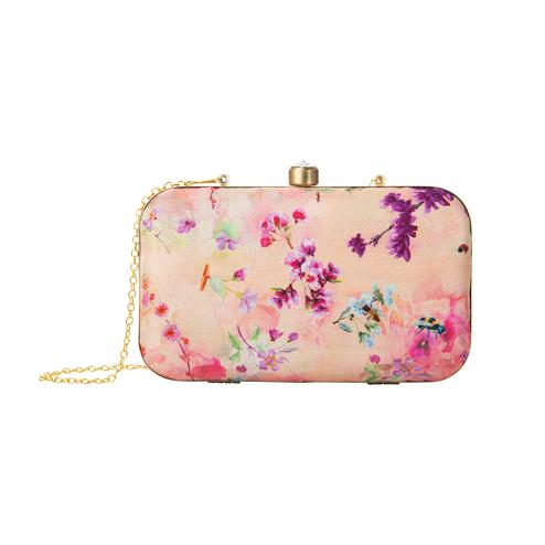 Opulent Peach Colored Floral Printed Fancy Clutch