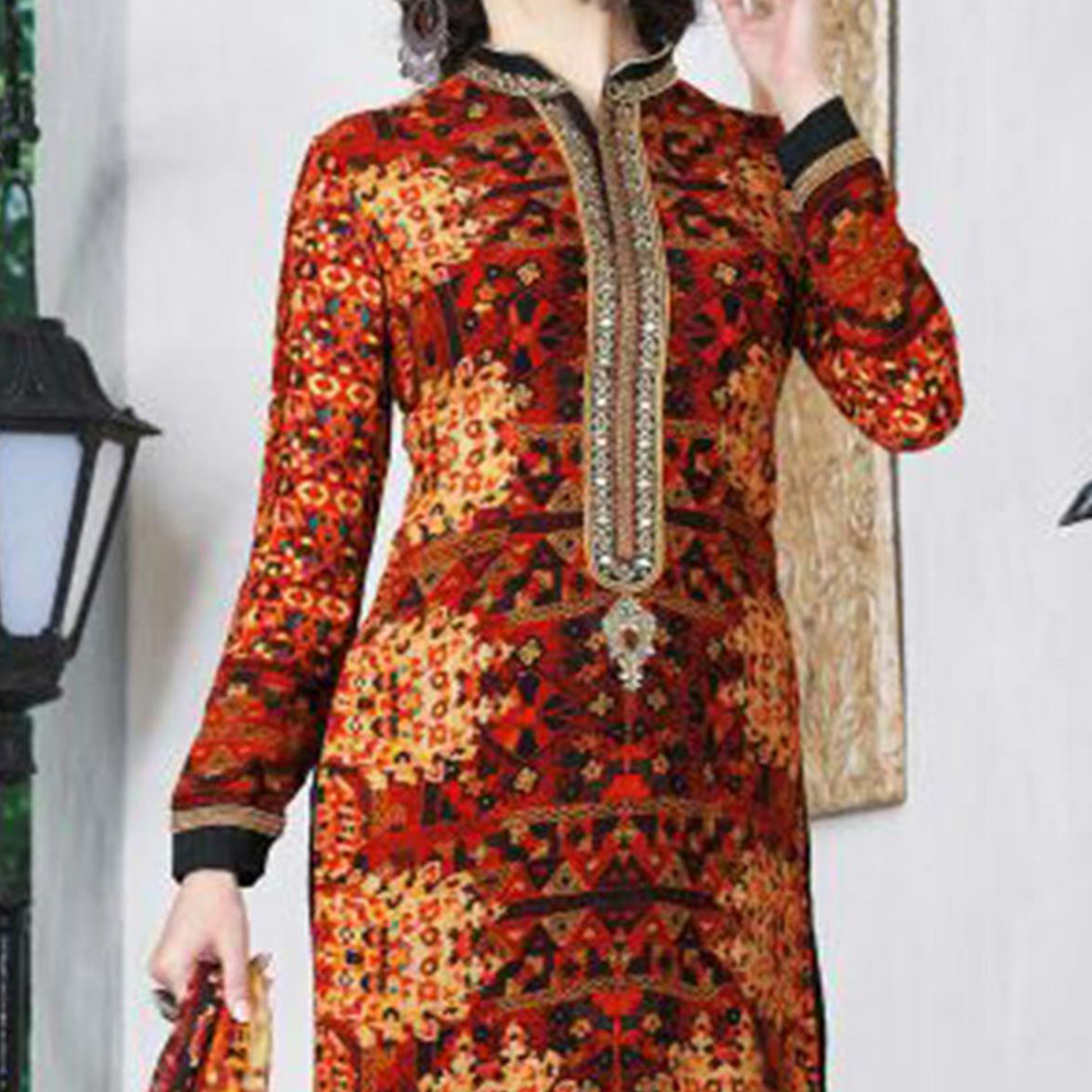 Red - Black French Crape Suit