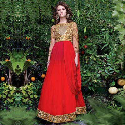 Beige - Red Semi Stitched Net Gown