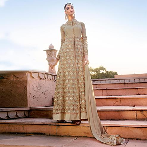 Gorgeous Beige Mid Slit Designer Embroidered Georgette Anarkali Suit