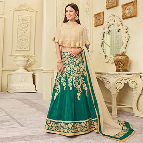 Mesmerising Green Designer Embroidered Mulberry Silk Lehenga Choli