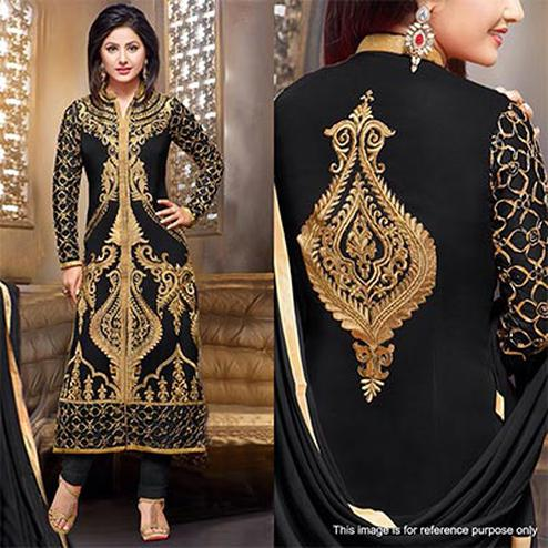 Black Embroidered Gerogette Suit