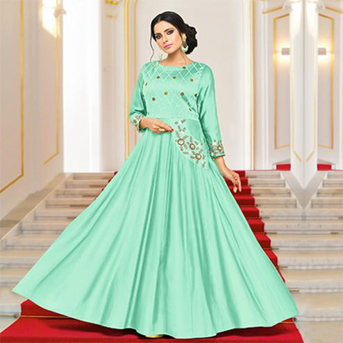Gorgeous Green Partywear Embroidered Pure Muslin Silk And Satin Silk Gown