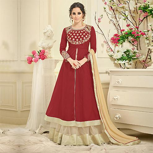 Beautiful Maroon Slit Cut Designer Tapetta Silk Lehenga Kameez