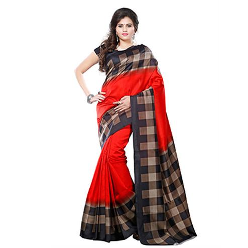 Red - Black Art Silk Printed Saree