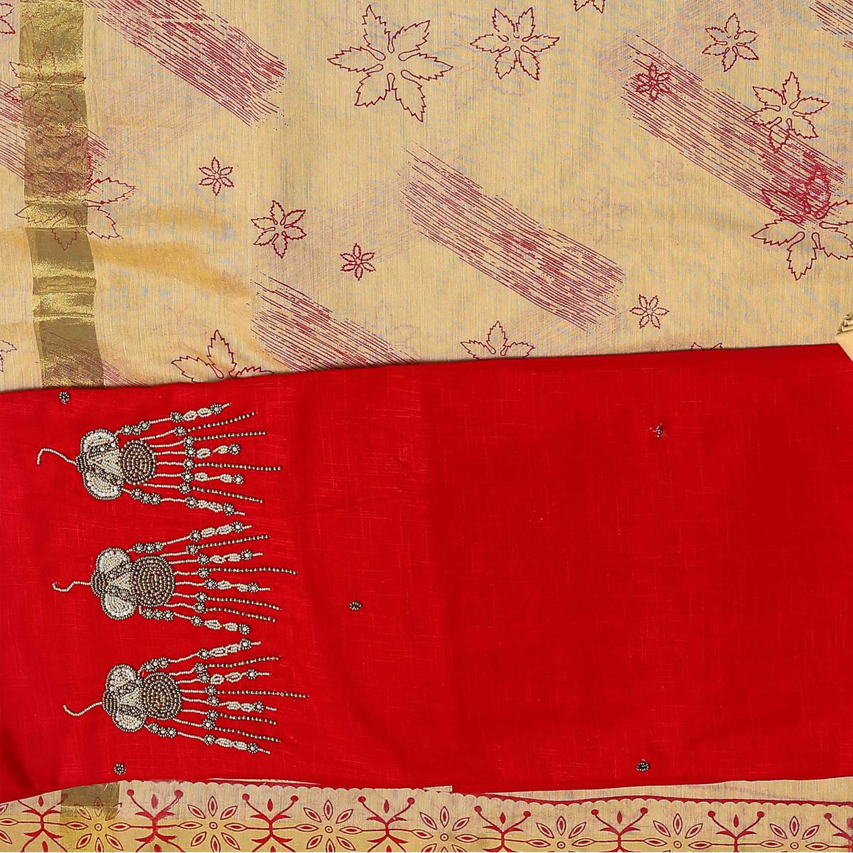 Dazzling Red-Beige Colored Embroidered Chanderi Cotton Dress Material