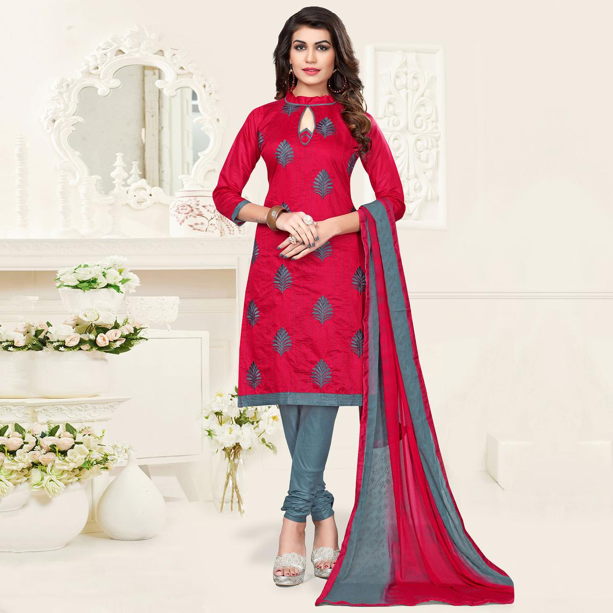 Red-Gray Colored Embroidered Jacquard Dress Material