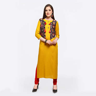 Graceful Yellow Colored Fancy Designer Cotton Slub Kurti