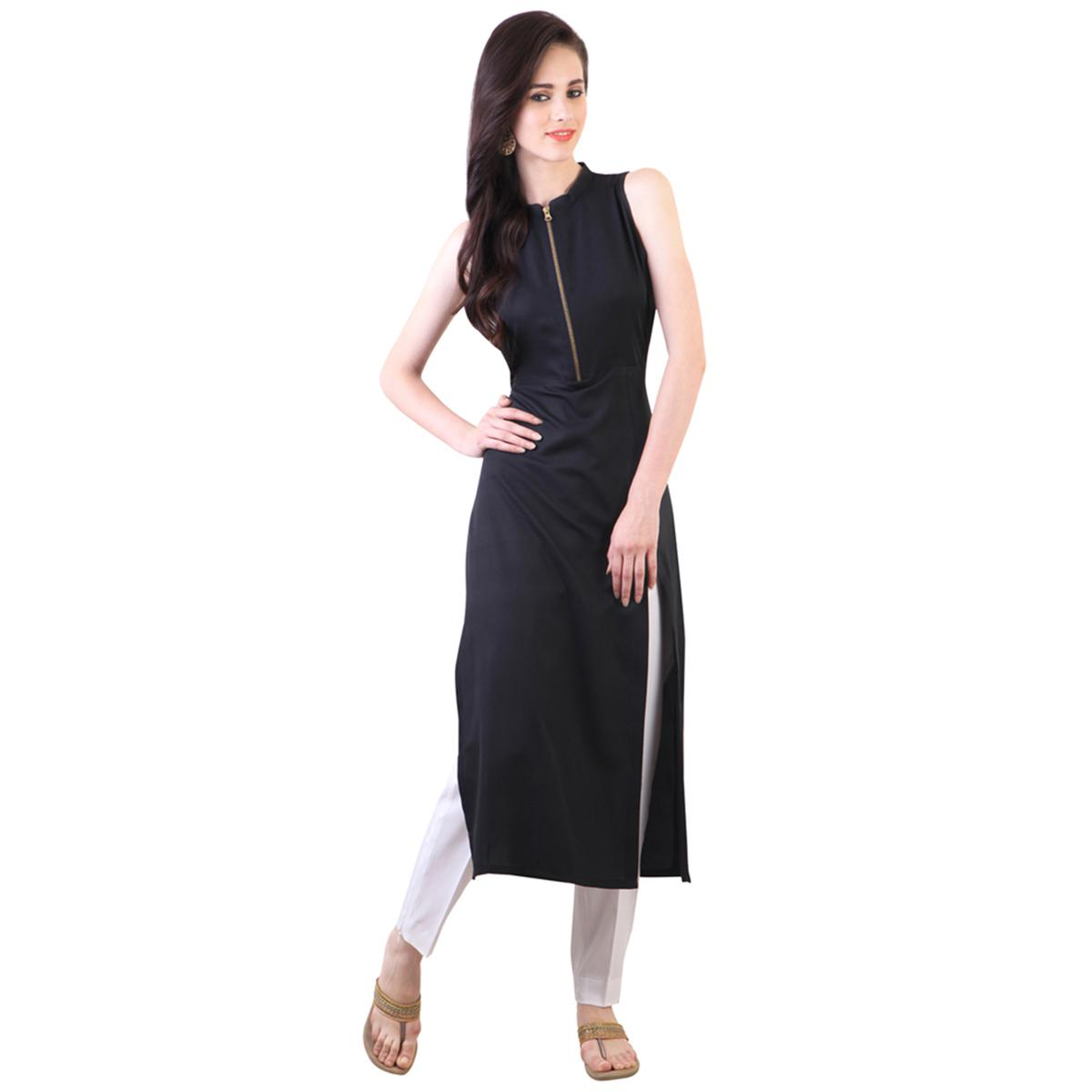 Black Colored Casual Rayon Kurti