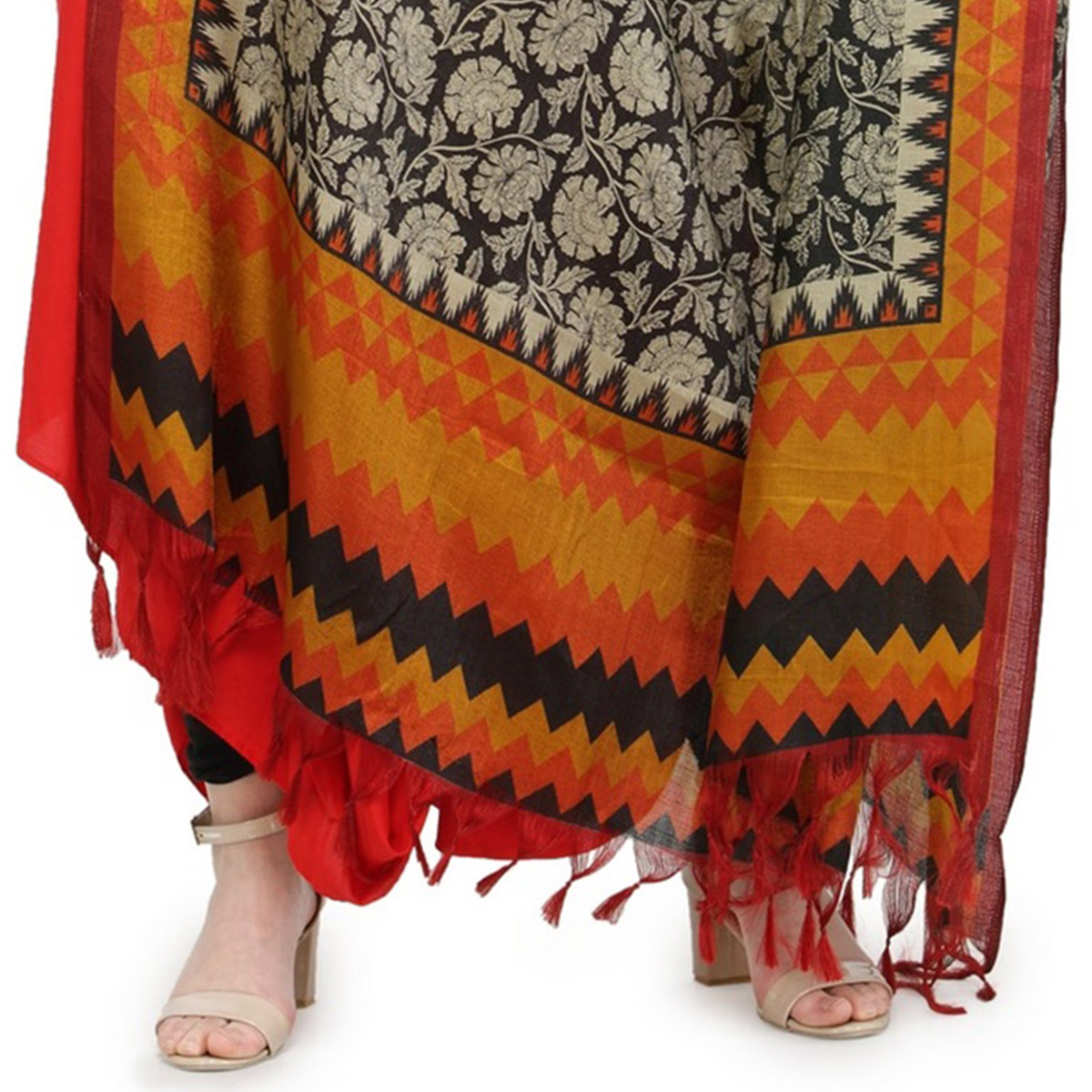 Yellow-Orange Colored Border With Floral Printed Khadi Silk Dupatta