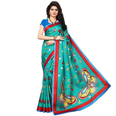 Rama Green Festive Wear Printed Cotton Silk Saree