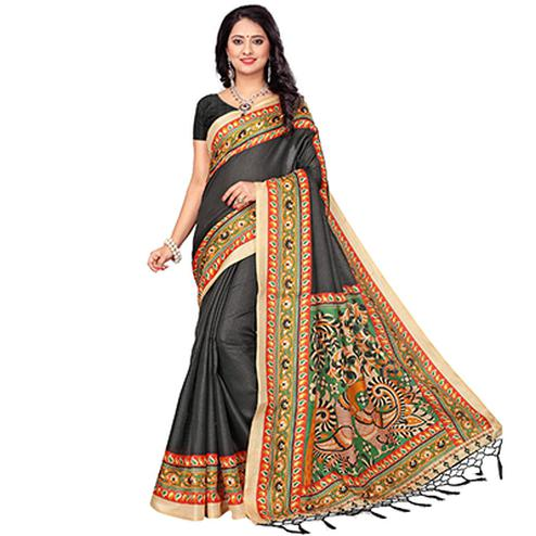 Black Casual Printed Khadi Silk Saree With Tassels