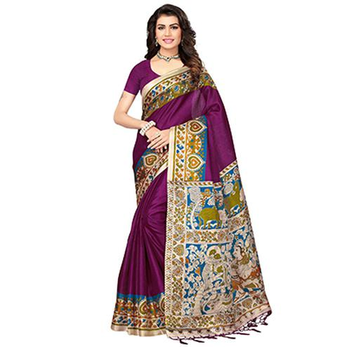 Purple Casual Printed Cotton Silk Saree With Tassels