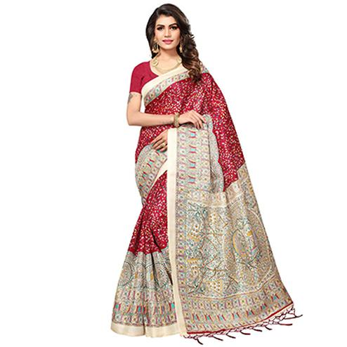 Red - Beige Casual Printed Cotton Silk Saree With Tassels